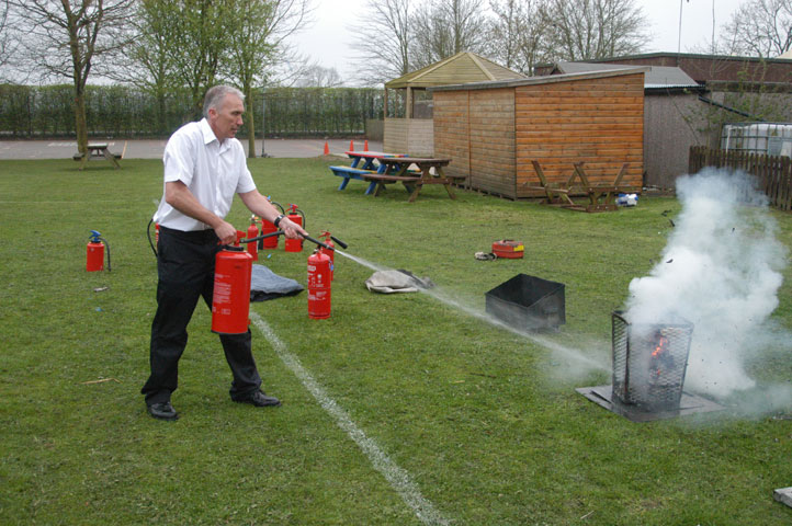 Water fire extinguisher training